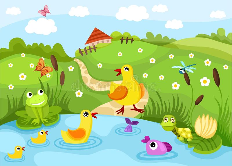 Pond stock vector. Illustration of pond, house, wildlife ...