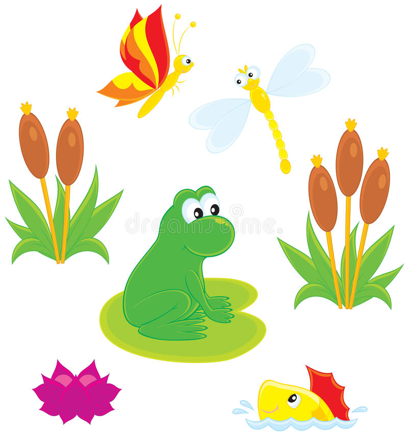 Pond. Vector clip-art illustration of a green frog, dragonfly, butterfly, fish, water lily and cane royalty free illustration