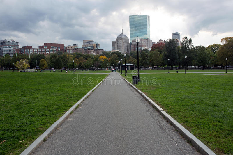 Pond in Boston Common garden. Boson Common public park in the city center royalty free stock photo