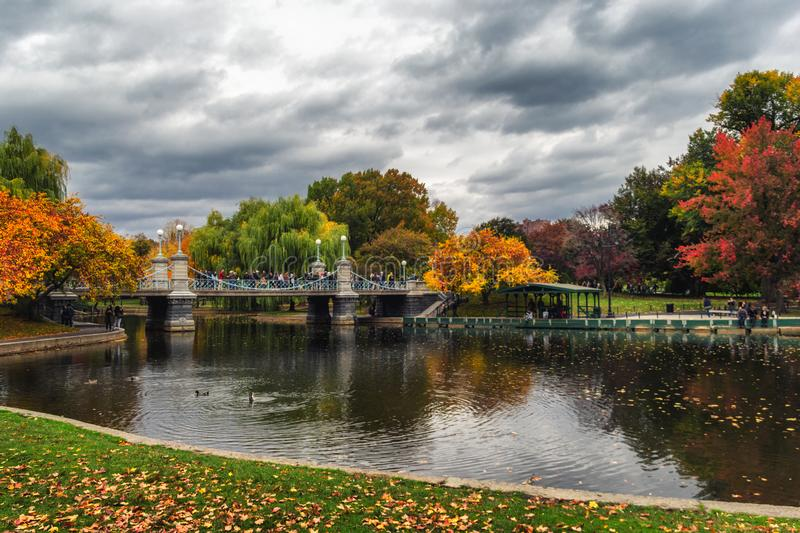 Pond in Boston Garden park on a cloudy day. In fall season stock photography
