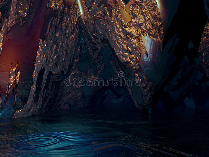 Pond Cavern. Interior view of a pond in a cavern vector illustration