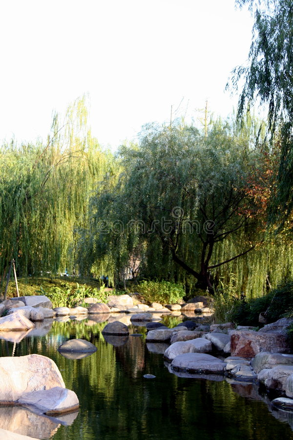 Pond in Chinese garden stock image