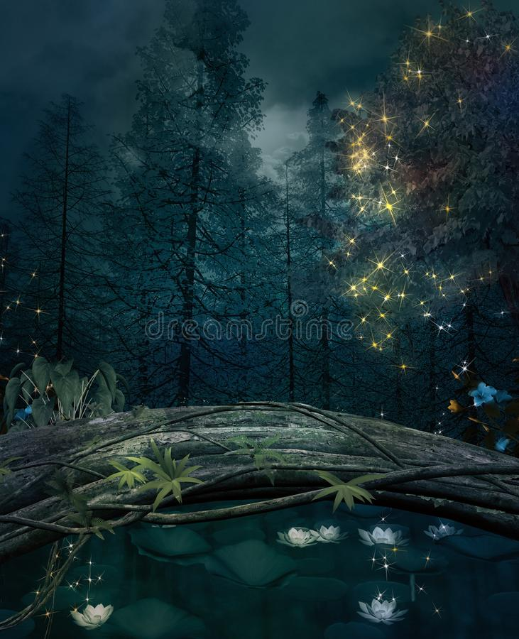 Pond in a dark forest with water lilies and shining lights. Enchanted nature series - Pond in a dark forest with water lilies and shining lights - 3D stock illustration
