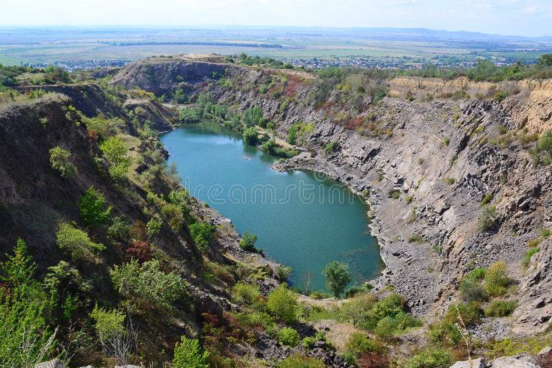 Pond in the dell near Tarcal village, Hungary. In summer stock image
