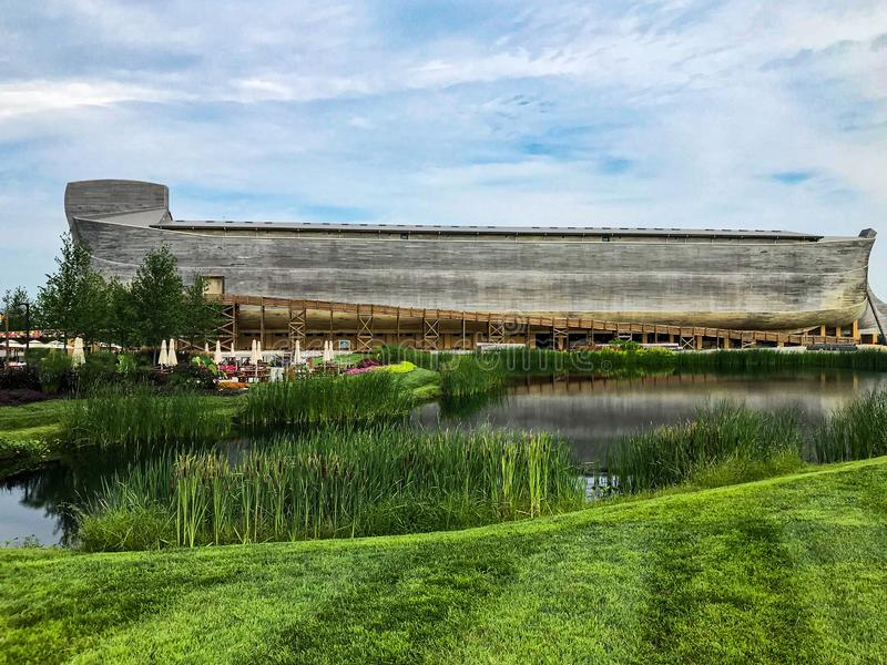 A Pond and Garden in Front of The Ark Encounter. Life Sized Noah`s ark stock photos