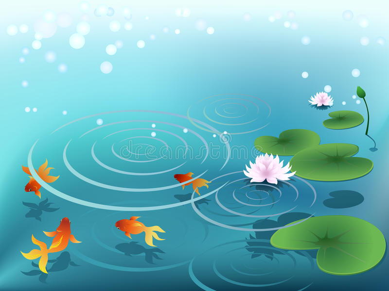 Pond with goldfish. And water lily