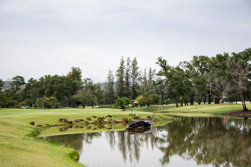 The pond on a golf course in Thailand royalty free stock photo