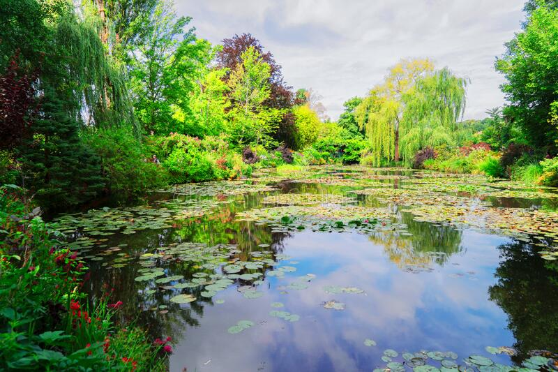 Pond with lilies in Giverny stock photos