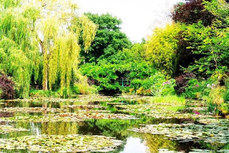 Pond with lilies in Giverny royalty free stock photo