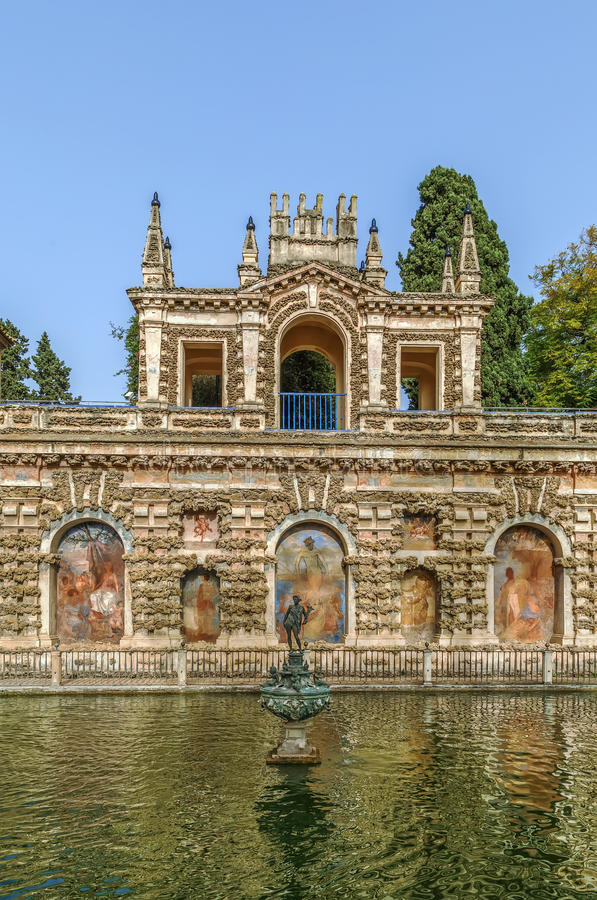 Pond of Mercury in Alcazar of Seville, Spain royalty free stock photography