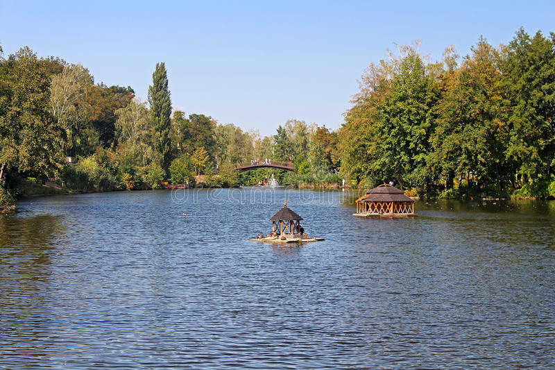 Pond in Mezhyhirya - former private residence of ex-president Yanukovich, now open to the public royalty free stock photo