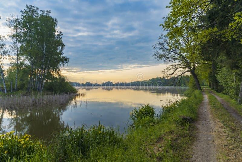 Pond near Trebon, South Bohemia, Czecg Republic. Czech, sky, landscape, view, water, nature, sun, background, lake, evening, outdoor, scenic, horizon, dusk stock images