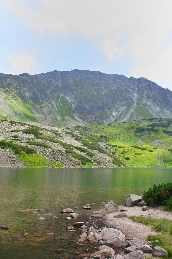 Pond in the Polish mountains with light reflecting from the water surface. In the background the Tatra mountain range with green g. Rass on the rocks in the stock photography
