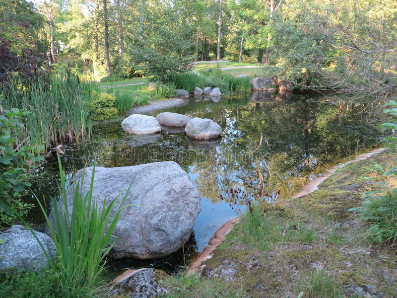 Download Pond With Rocks And Trees In Turku Biological Museum Stock Image - Image: 83713017