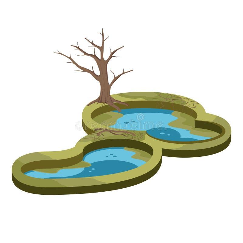 Pond Swamp Wetland and Tree Nature Landscape stock illustration