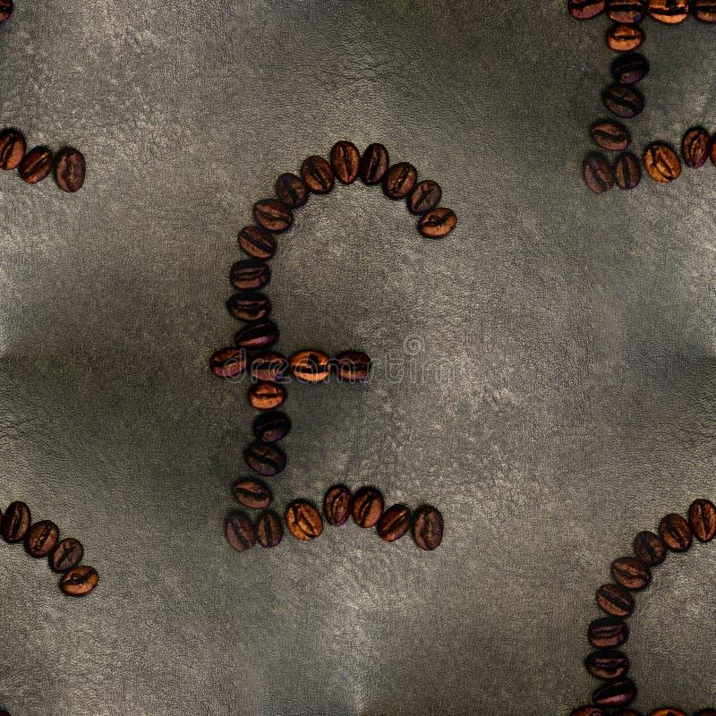 Pond teken van koffiebonen, achtergrond, naadloos royalty-vrije stock fotografie