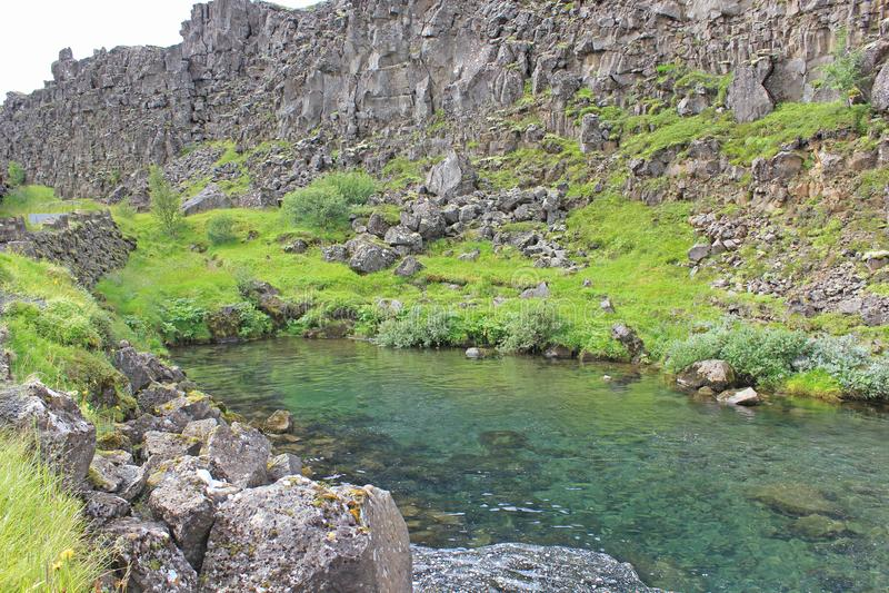 Pond in the thingvellir national park stock image