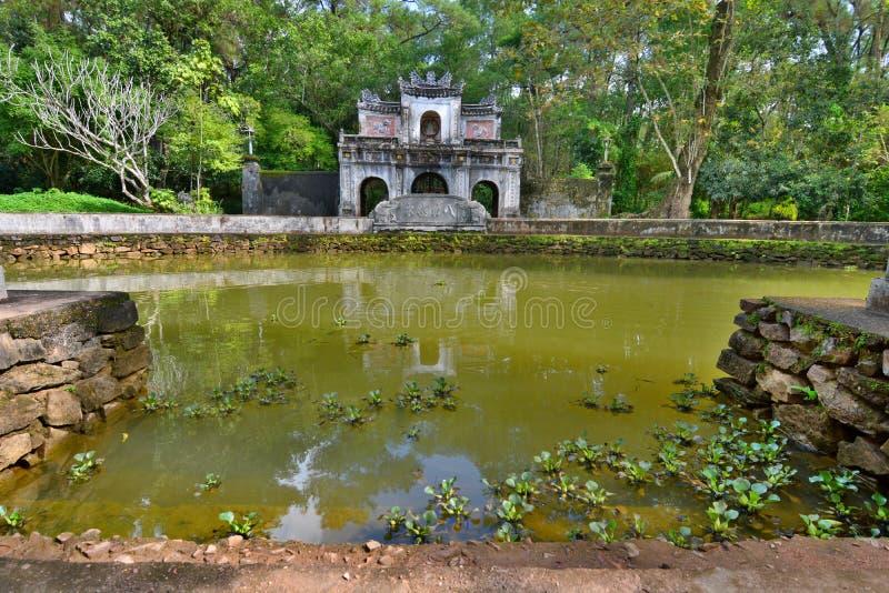 The pond. Tu Hieu pagoda. Hue. Vietnam stock photography