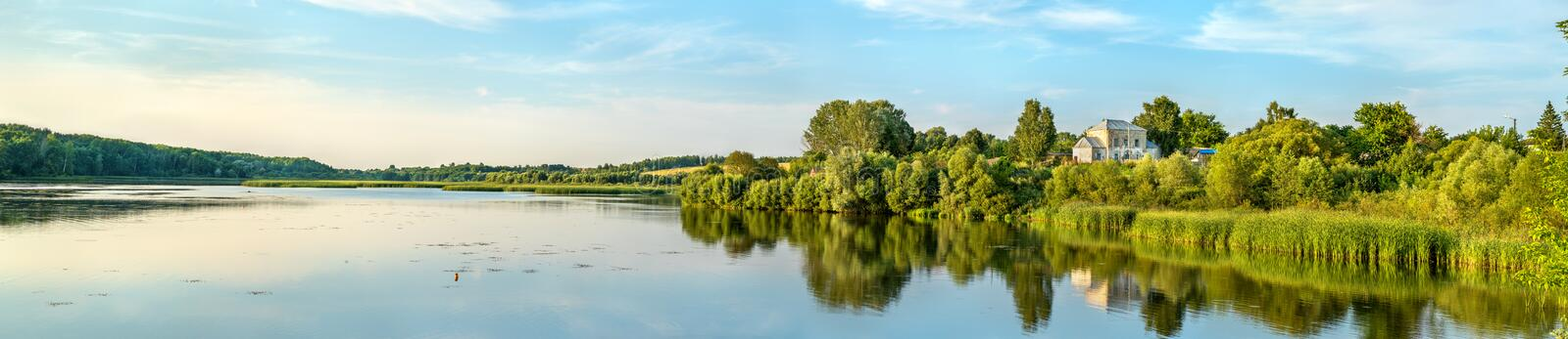 Pond on the Vablya River at Glazovo, a typical village on the Central Russian Upland. Kursk region of Russia royalty free stock photos