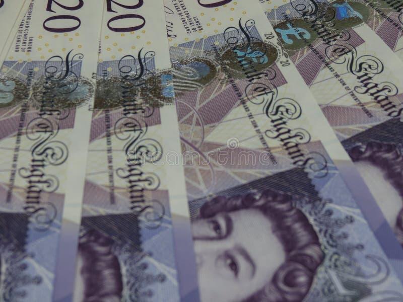 20 Pondennota's, het Verenigd Koninkrijk in Londen royalty-vrije stock afbeelding