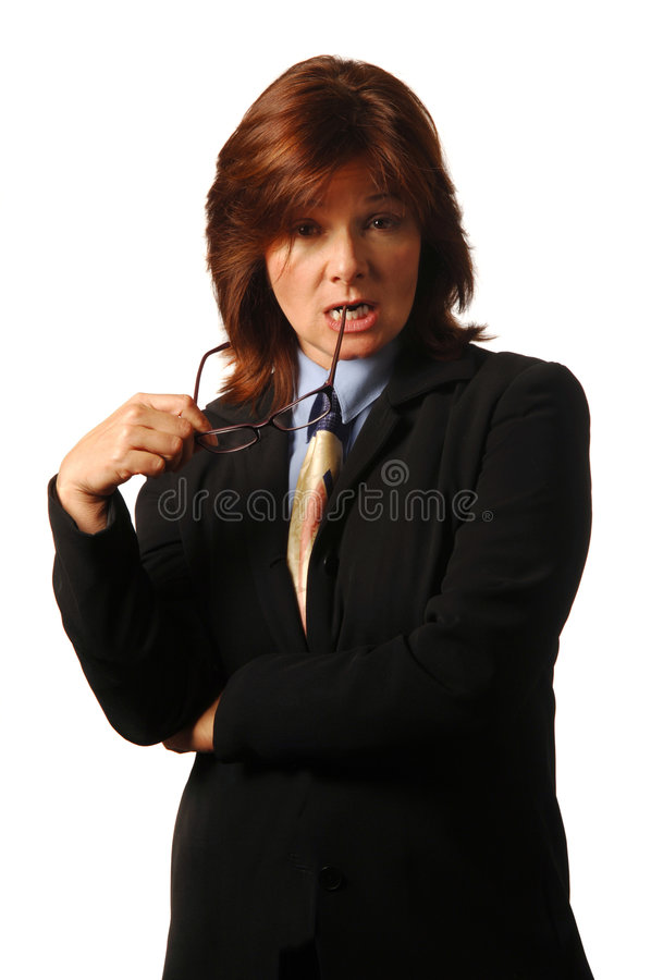 Pondering the offer. Businesswoman or lawyer reacting skeptically to a proposition stock image