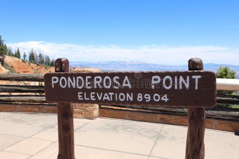 Ponderosa Point Sign in Bryce Canyon National Park. Utah. USA stock photos