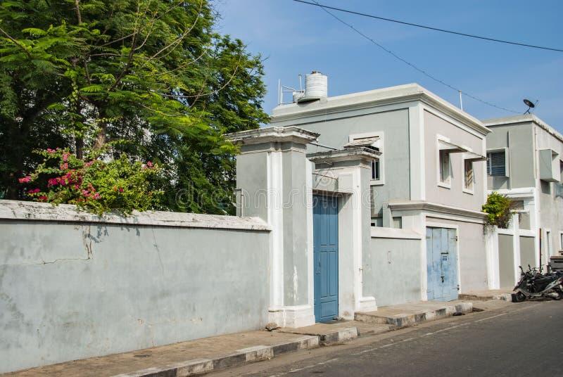 Γαλλική συνοικία Pondicherry, Ινδία στοκ εικόνες