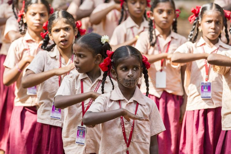 Documentary editorial image. School parade of monday morning in India, with students with uniforms. PONDICHERY, PUDUCHERY, INDIA - SSEPTEMBER 04, 2017. School royalty free stock photography