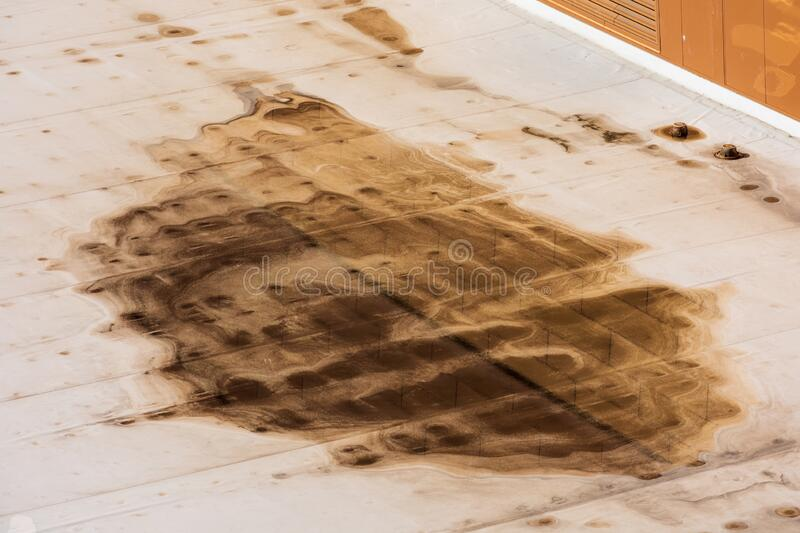 Ponding dirty water on settled flat roof is a sign of a drainage problem. Excessive ponding can attract insects, mold, vegetation. And cause structural damage royalty free stock photos