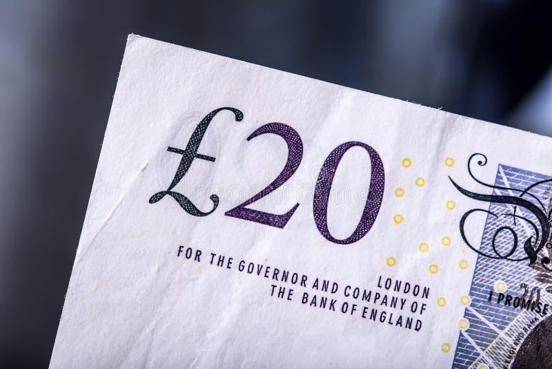 Pondmunt, geld, bankbiljet Engelse munt Britse bankbiljetten van verschillende die waarden op elkaar worden gestapeld stock afbeelding