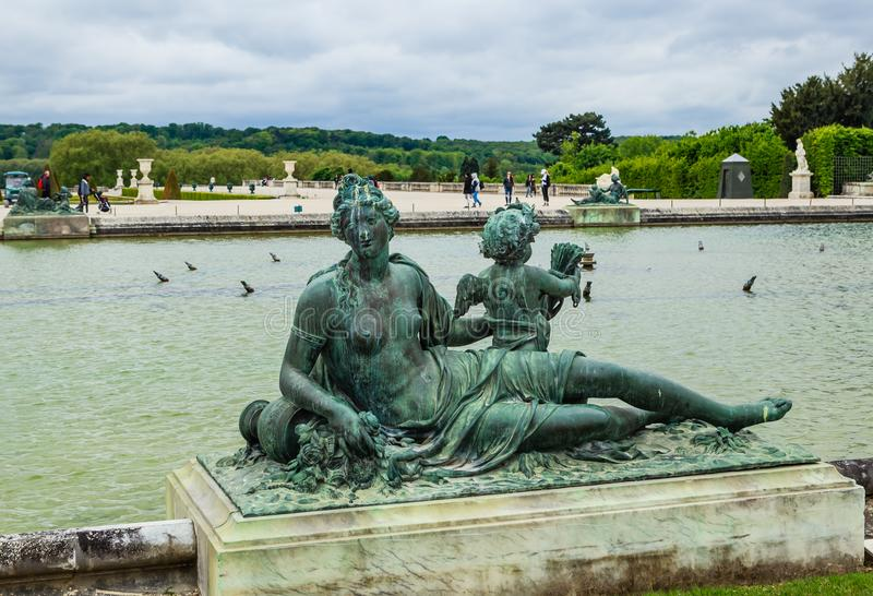 Ponds Water Parterres and statues in front of the stock photos
