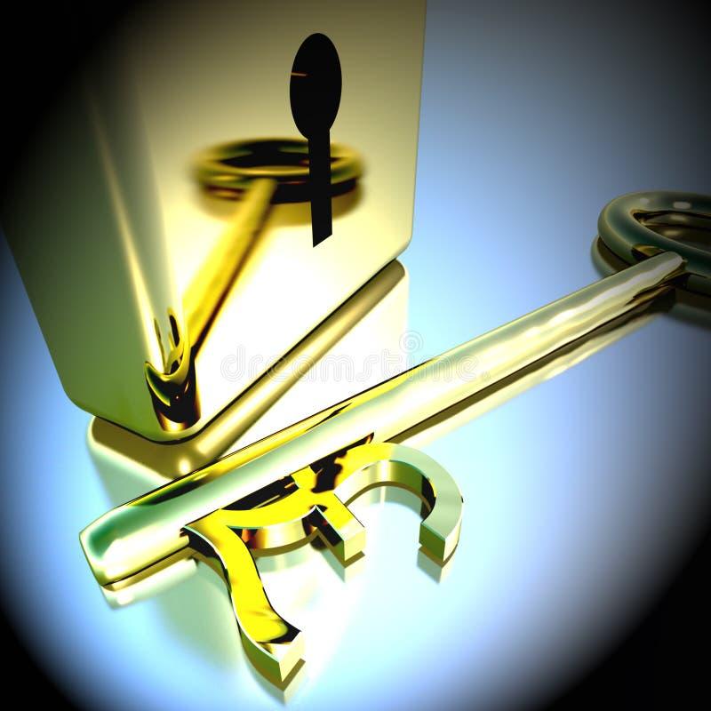 Pondsleutel met Gouden Hangslot die Bankwezenbesparingen het 3d Teruggeven tonen royalty-vrije illustratie