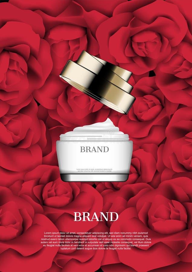 Poner crema abierta en fondo de las rosas rojas stock de ilustración
