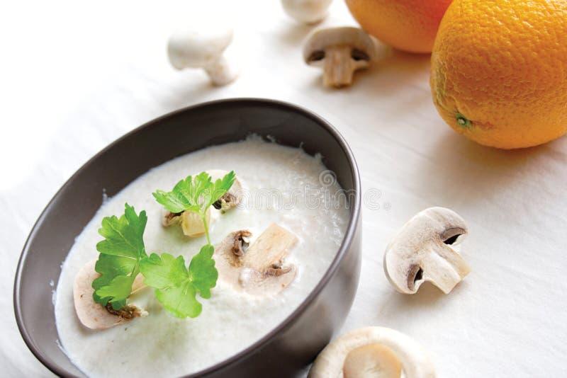 _ poner crema sopa con champiñón imagen de archivo