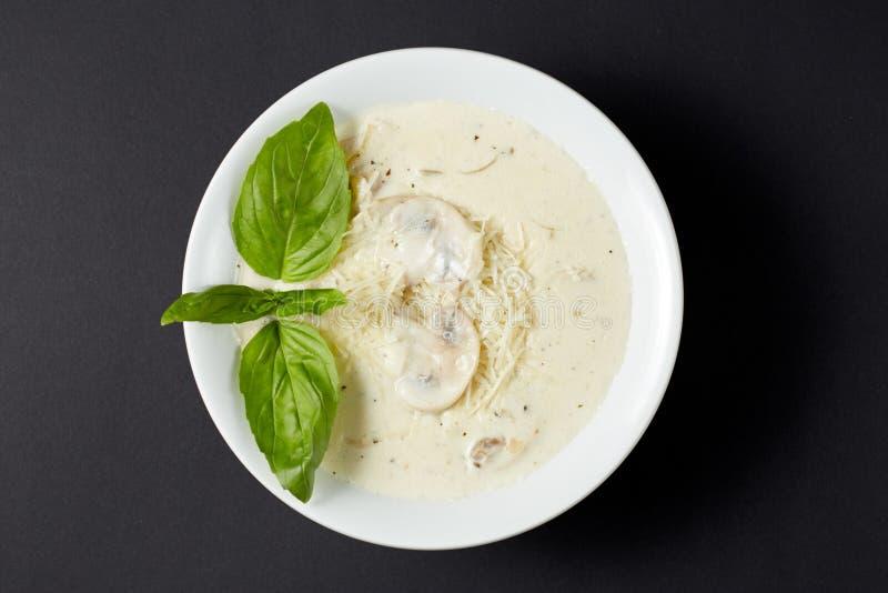 _poner crema sopa con pollo y seta Estilo italiano FO italianas fotografía de archivo