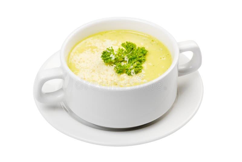 _poner crema sopa en blanco cuenco imagenes de archivo