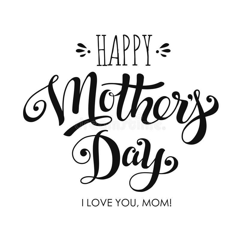 Poner letras al d?a de madres feliz para la tarjeta de felicitaci?n libre illustration