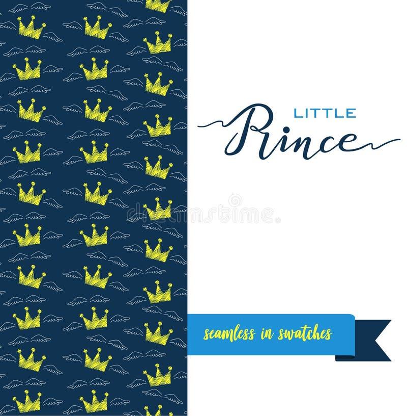 Poner letras al pequeño príncipe, al texto azul y a las coronas en parte delantera ilustración del vector
