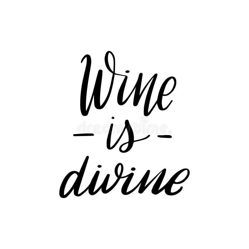 Poner letras al vino es divino stock de ilustración