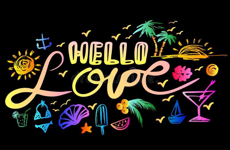 Poner letras a amor del hola ilustración del vector