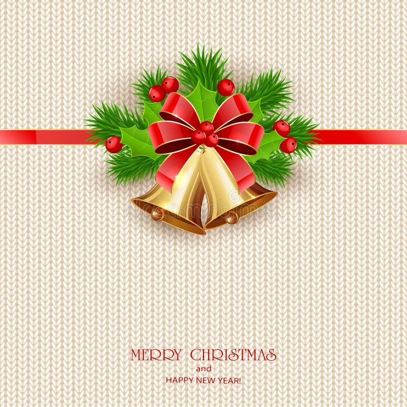 Poner letras a Feliz Navidad con Belces de oro en Backgroun hecho punto libre illustration