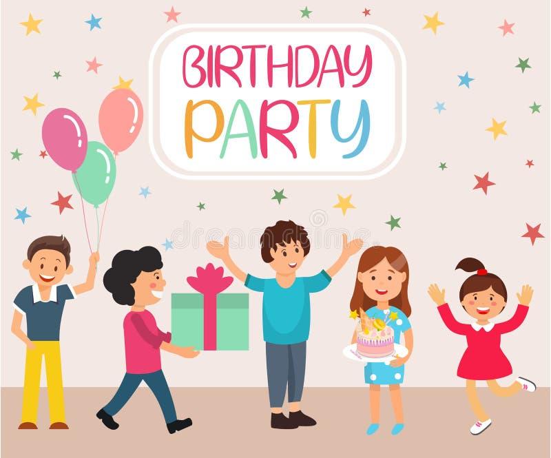 Poner letras a la bandera plana de la historieta de la fiesta de cumpleaños stock de ilustración