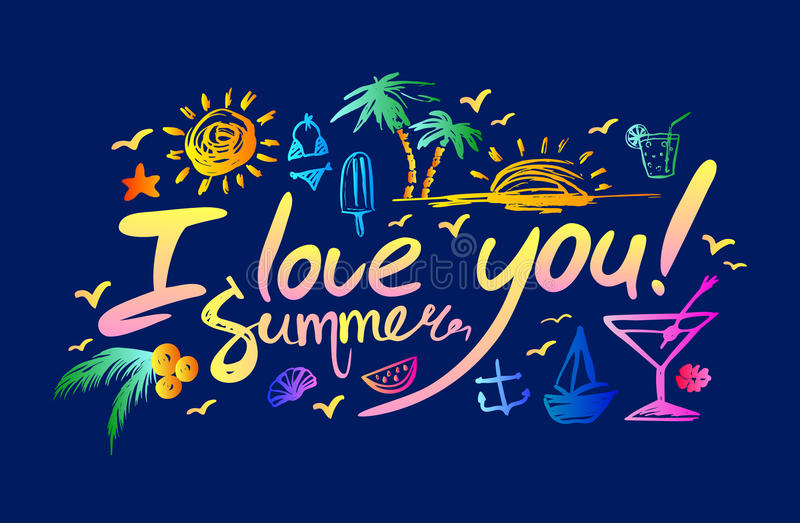 Poner letras te quiero a verano libre illustration