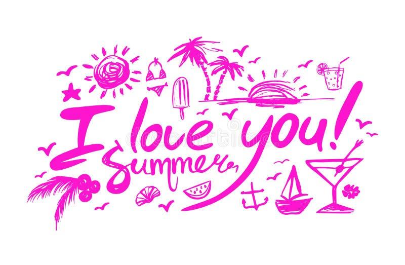 Poner letras te quiero a verano stock de ilustración