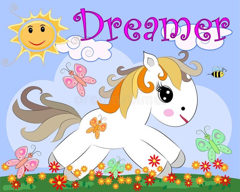 Poney blanc dans une clairière avec des fleurs, arc-en-ciel, le soleil Illustration d'enfant, caractère de conte de fées, rêveur illustration stock