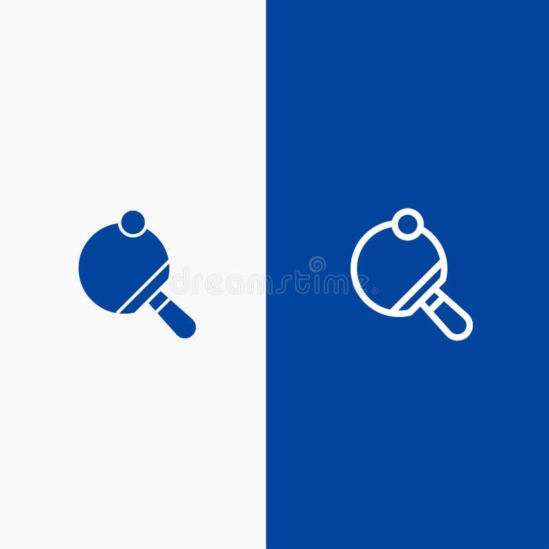 Pong、球拍、表、网球线和纵的沟纹坚实象蓝色旗和纵的沟纹坚实象蓝色横幅 向量例证