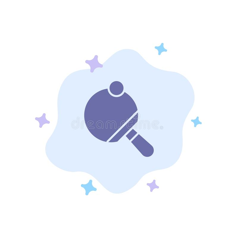 Pong,球拍,表,在抽象云彩背景的网球蓝色象 皇族释放例证