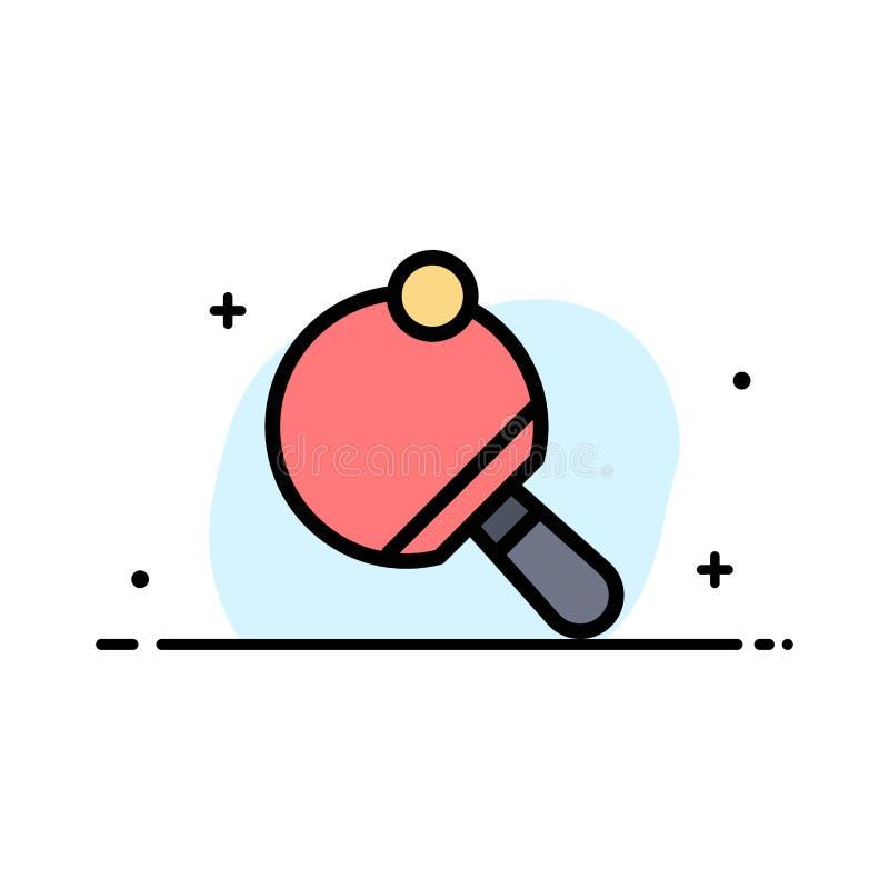 Pong,球拍,表,网球企业平的线填装了象传染媒介横幅模板 向量例证