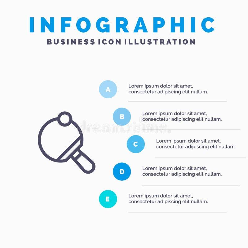 Pong,球拍,表,网球线象有5步介绍infographics背景 皇族释放例证