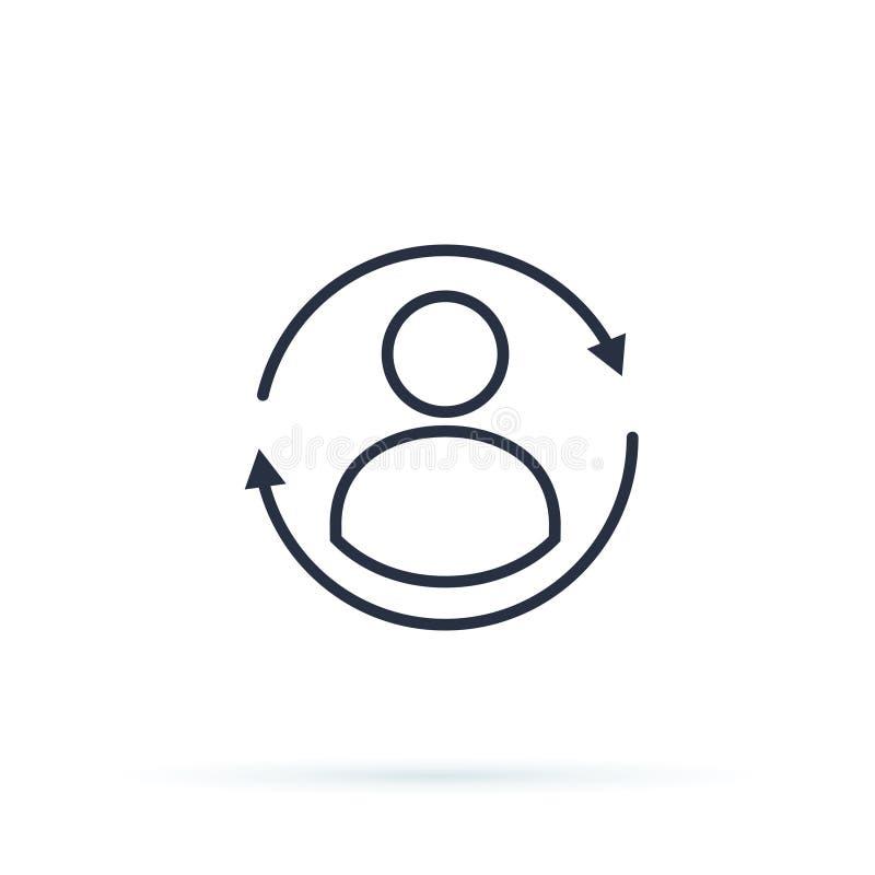Ponga al día el perfil, icono de la cuenta personal, avatar del cambio, adoquín del reset stock de ilustración